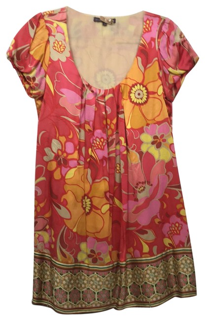 Item - Pinks and Oranges Short Casual Dress Size 4 (S)