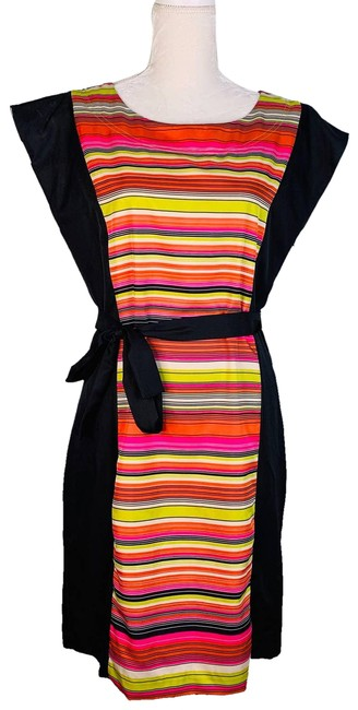 Item - Multicolor Panel Cap Sleeves Stripes Belted Zipper Mid-length Short Casual Dress Size 10 (M)
