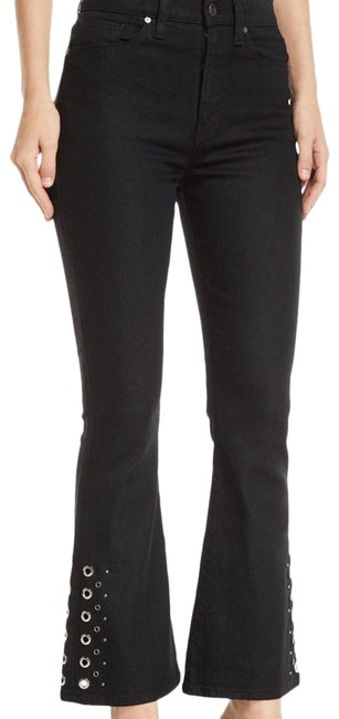 Item - Black Holly High Rise Crop Grommet Flare Leg Jeans Size 26 (2, XS)