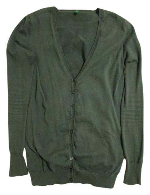 Item - Green (With Yellow Accent) Sisley V-neck Button Closure Cardigan Size 4 (S)
