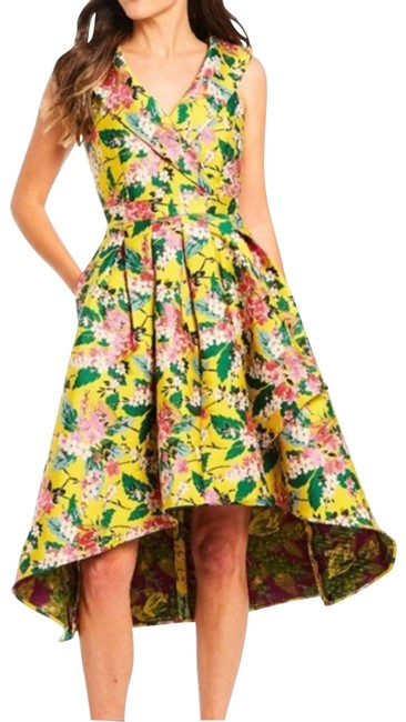 Item - Yellow Green 50s Retro Floral Jacquard Wrap Mid-length Cocktail Dress Size 4 (S)