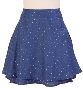 Tulle Polka Dot Tier Layered Retro Skirt Blue