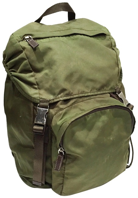 Item - Double Buckle Green Nylon Backpack