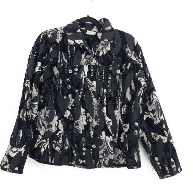 Item - Black Tapestry Jacket Abstract Button Down Blazer Size 12 (L)