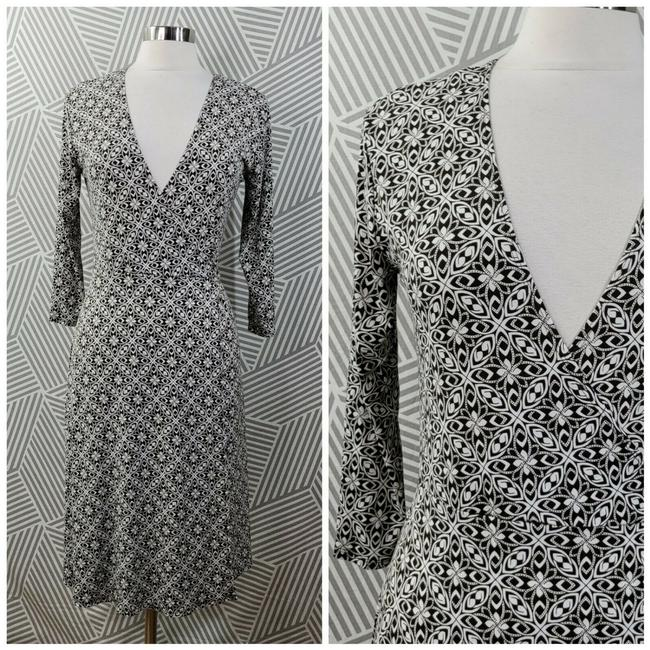 Item - Brown and Cream Wrap Mid-length Work/Office Dress Size 8 (M)