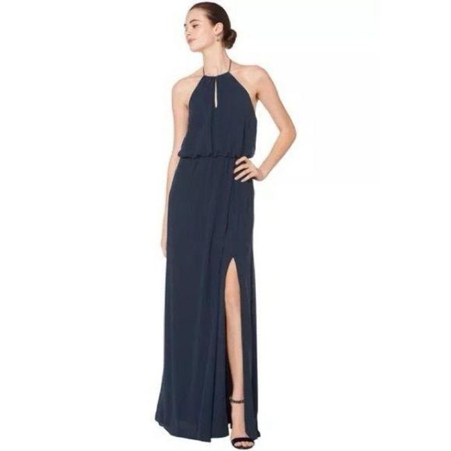 Item - Blue Chiffon Keyhole Halter A Line Gown Long Night Out Dress Size 6 (S)