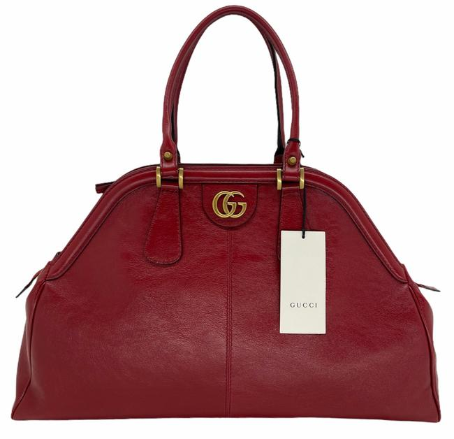 Item - Bag RE(BELLE) Marmont Large Rebelle Top Handle Gg Logo Satchel Red Leather Tote