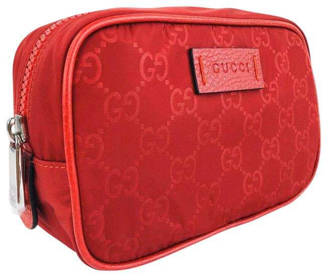 Item - Red ssima Pouch Gg Logo Nylon Travel Toiletry Cosmetic Bag