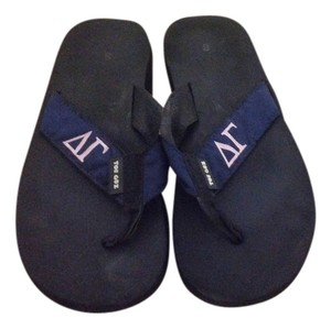 Delta Gamma Dg Flip Flops Ribbon Navy baby pink and black Sandals