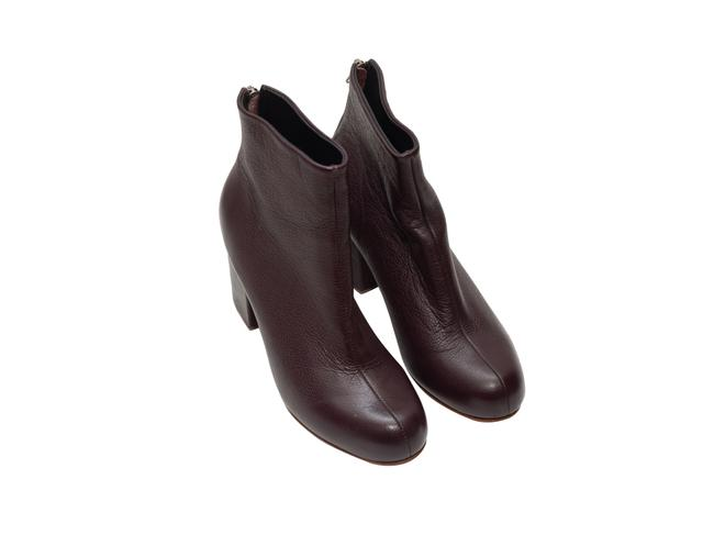 Item - Burgundy Dark Leather Ankle Boots/Booties Size US 10 Regular (M, B)