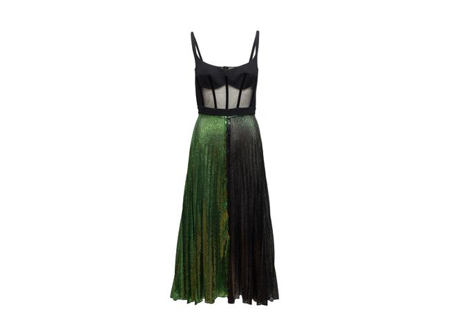 Item - Black And Green Bustier Sequin Gown Formal Dress Size 10 (M)
