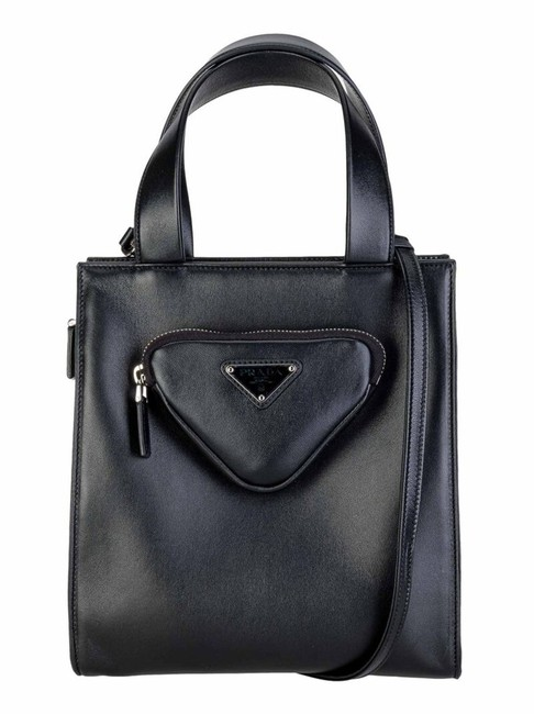 Item - Triangle Pouch Black Leather Tote