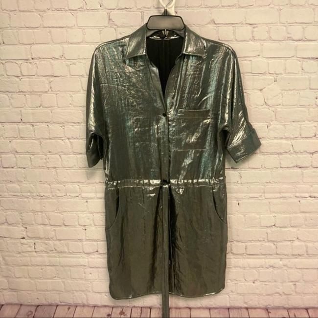 Item - Silver Belted Gunmetal Midi Mid-length Night Out Dress Size 2 (XS)