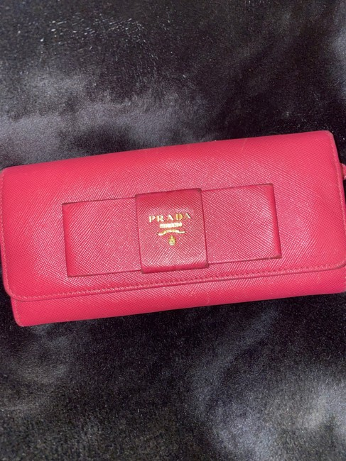 Item - Pink Saffiano Fiocco Bow Peony Wallet