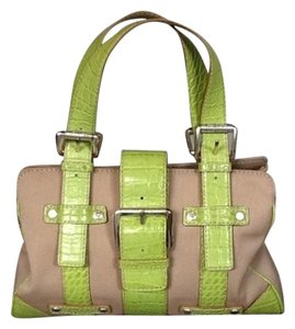 Michael Kors #michael Kors #satche #leather #green #canvas Satchel in Green and khaki