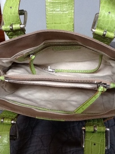Michael Kors #leather #canvas Satchel in Green and khaki