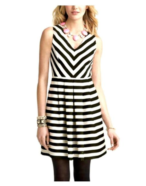 Item - Black Sleeveless Striped Fit -flare Mid-length Work/Office Dress Size 14 (L)