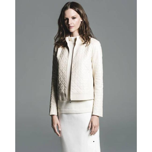 Item - Cream Becks Quilted Moto Oyster Jacket Size 8 (M)