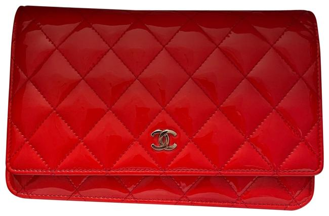 Item - Wallet on Chain Quilted Woc Red Patent Leather Cross Body Bag