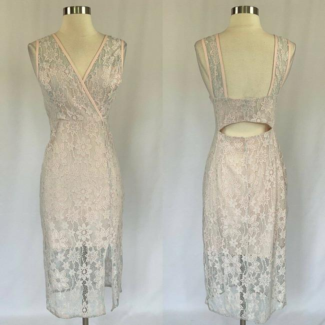 Item - Pink and Blue Women's Lace Cutout Sheath Mid-length Cocktail Dress Size 8 (M)