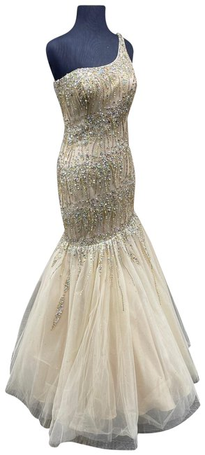 Item - Nude/ Gold 14744/ Long Formal Dress Size 4 (S)