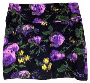 Forever 21 Floral Zipper Bodycon Mini Skirt black, purple, yellow