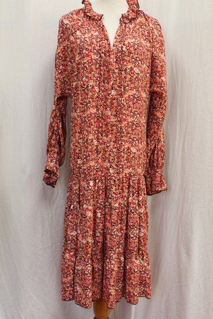 Item - Coral Print O.p.t. One Pretty Time Midi Tie Ruffle Collar Mid-length Casual Maxi Dress Size 6 (S)