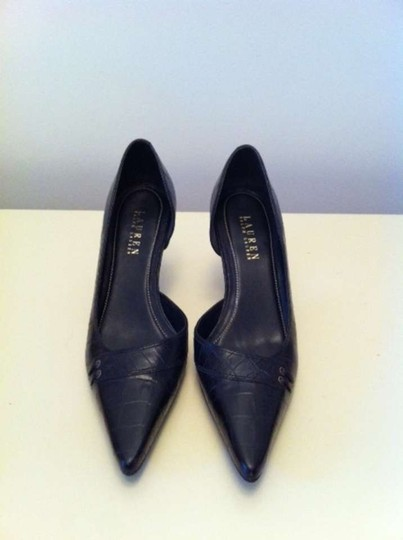Lauren Ralph Lauren Black Croc Embossed Pumps
