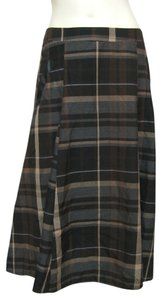 New York & Company Ny Collection Plaid Skirt Brown