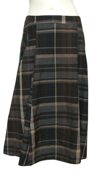 New York & Company Ny Collection Plaid Pleated Long With Tag Size 12 L Over Knee Gray Tan Striped Flared Zipper Nwt Large Maxi Summer Skirt Brown