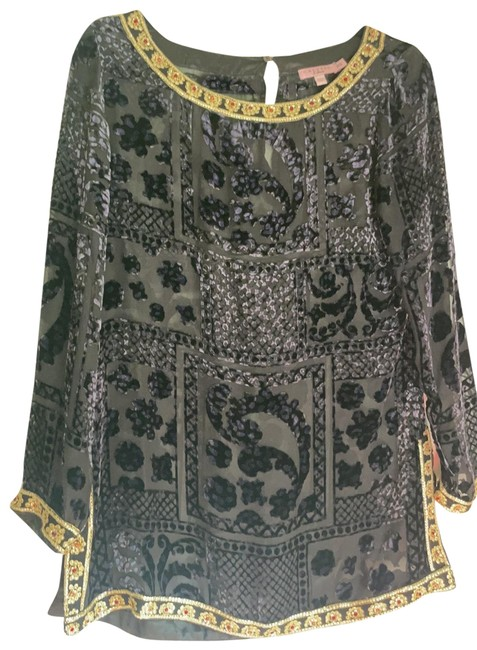Item - Embroidery Beads Gold Sheet Velvet High Quality Navy & Multi Top