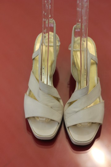 Saint Laurent White Leather Sandals