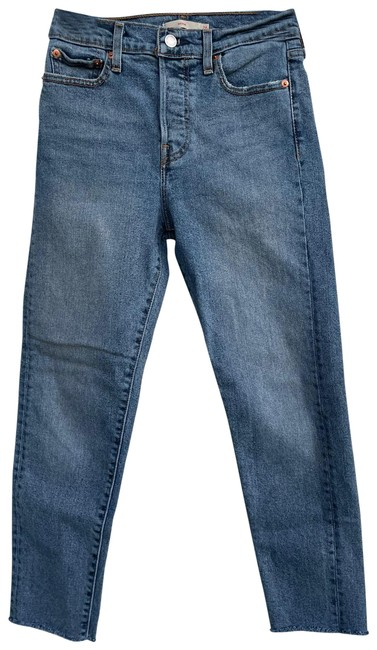 Item - Blue Medium Wash Wedgie Fit Ankle Raw Hemmed Straight Leg Jeans Size 2 (XS, 26)