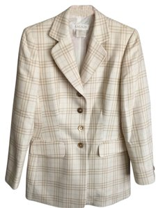 Escada Beige Cream Plaid Blazer