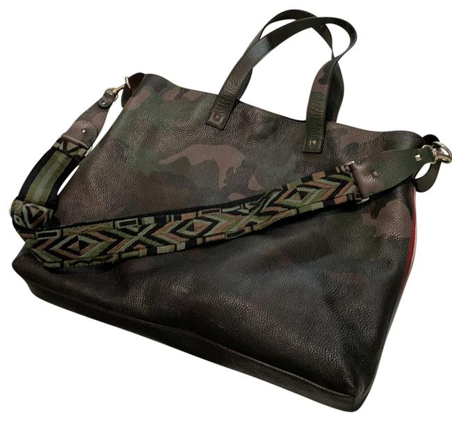 Item - Guitar Strap Rockstud with Red Strip Details Large & Rare Camo Leather Tote