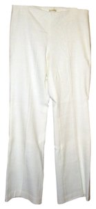 Magaschoni Woven Cotton Textured Tweed Side-zip Trouser Pants White