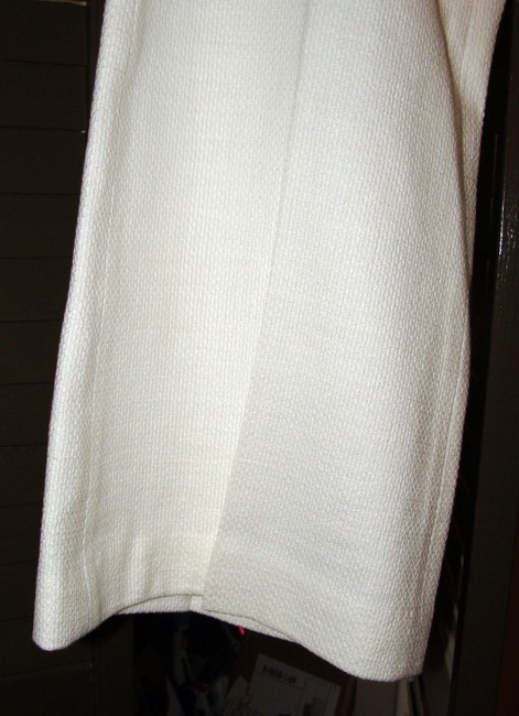 Magaschoni Woven Cotton Textured Tweed Side-zip Trouser Pants White Image 1