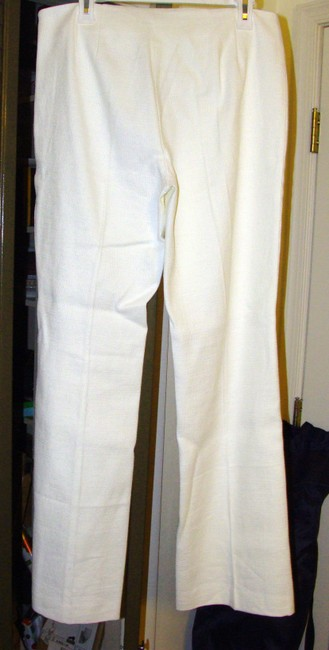 Magaschoni Woven Cotton Textured Tweed Side-zip Trouser Pants White Image 2