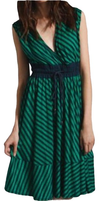 Item - Navy Blue Green Anthropologie Frock Faux Wrap Full Skirt Stripes Mid-length Short Casual Dress Size 12 (L)
