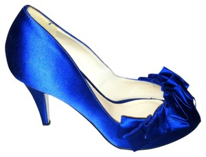 Kate Spade Wedding Peep Toe Heels Satin Cobalt Royal Blue Formal