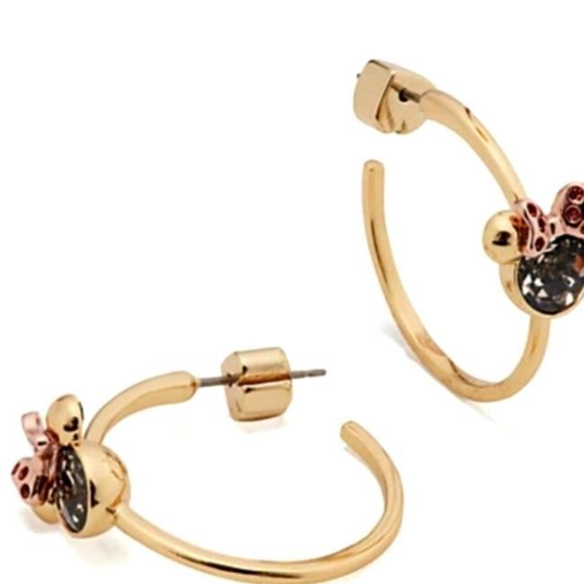 Item - Gold with Gray & Pink Cubic Zirconia Stones Disney Minnie Mouse Hoop Earrings