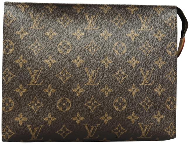 Item - Brown Toiletry Pouch Monogram Canvas Cosmetic Bag