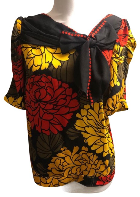 Item - Red/Yellow/Black/Olive W Silk Bold Floral Print W/Bow Blouse Size 6 (S)