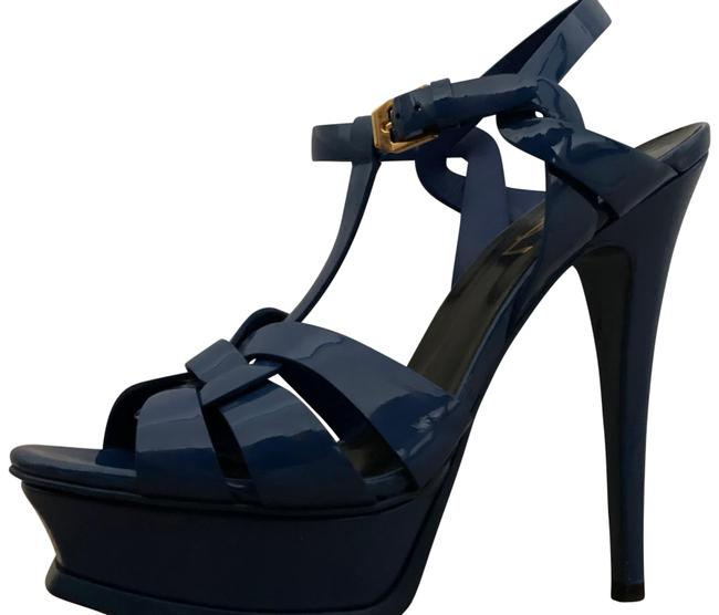 Item - Blue Tribute Sandals In Patent Leather Platforms Size EU 36 (Approx. US 6) Regular (M, B)