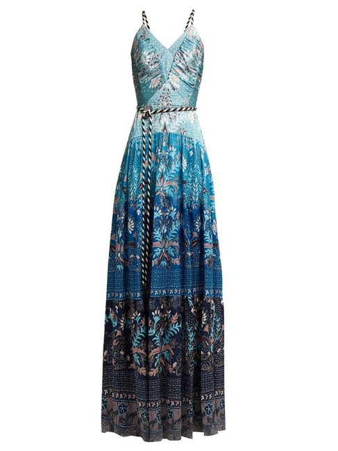 Item - Blue Cami Gown Hammered Silk Ocean Long Cocktail Dress Size 10 (M)