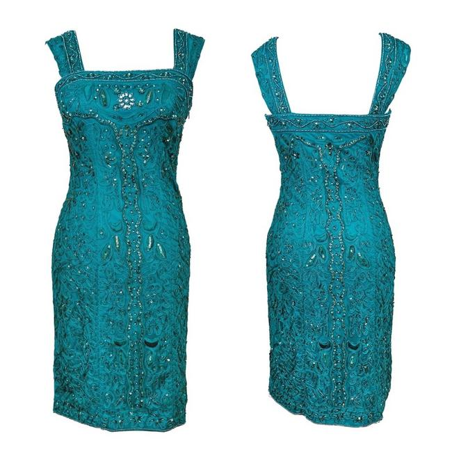Item - Blue Embroidered Beaded Sequin Turquoise Knee Length Mid-length Cocktail Dress Size 4 (S)