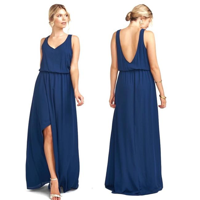 Item - Blue Kendall Rich Navy Maxi Formal Bridesmaid Long Cocktail Dress Size 8 (M)