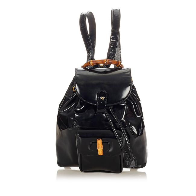 Item - Drawstring Bamboo Black Patent Leather Backpack
