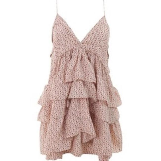 Item - Cream Red Star Print Lace Ruffle Short Casual Dress Size 2 (XS)