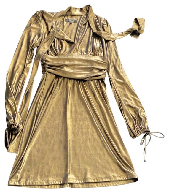 Item - Gold Liquid Lame' Short Night Out Dress Size 4 (S)